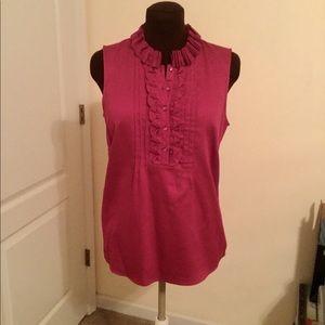 Sleeveless Fuschia dress shirt halfway button